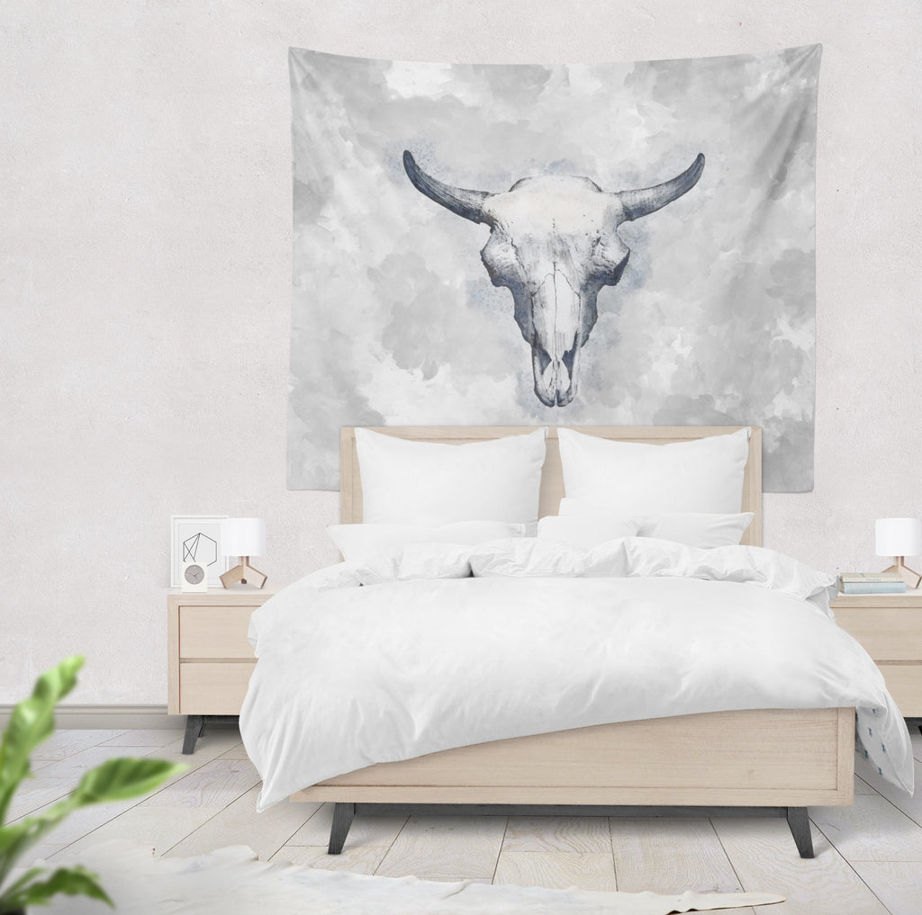 Blue Bull Cow Skull Wall Tapestry