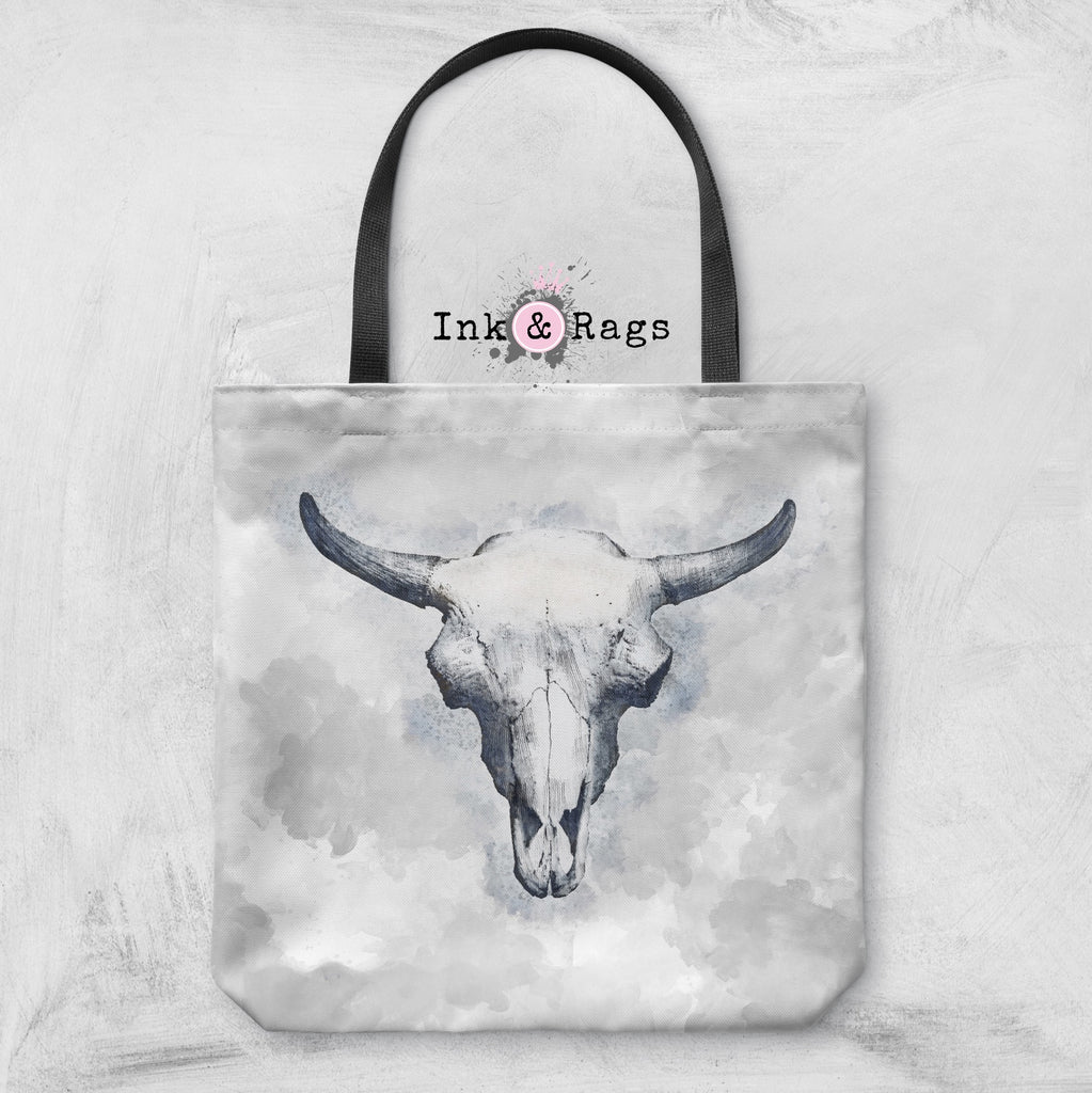 Blue Bull Cow Skull Casual Tote