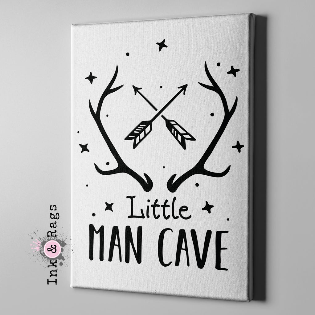 Little Man Cave White Gallery Wrapped Canvas