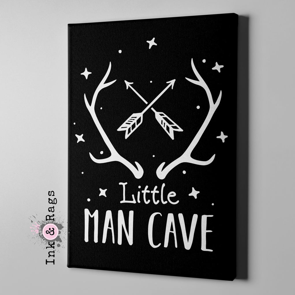 Little Man Cave Black Gallery Wrapped Canvas