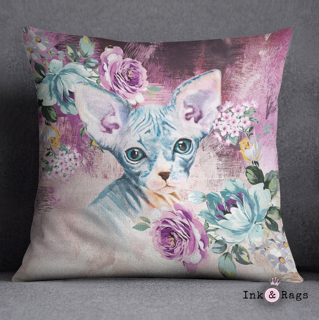 Precious Baby Sphynx Kitten and Flower Decorative Throw Pillow Cover