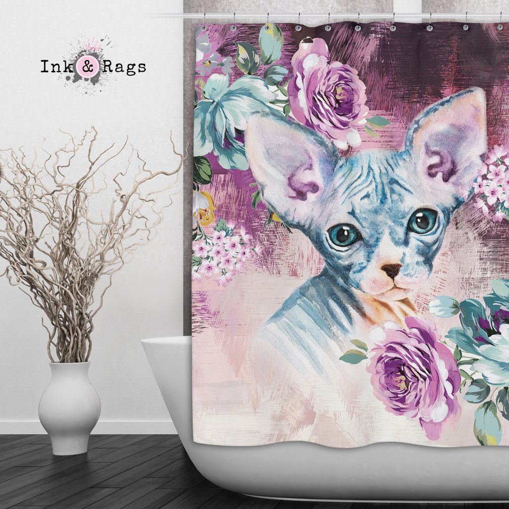 Precious Baby Sphynx Kitten and Flower Shower Curtains and Optional Bath Mats