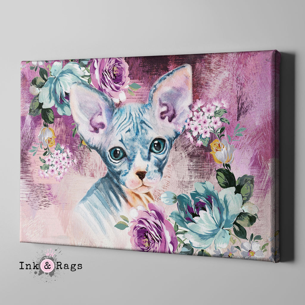 Precious Baby Sphynx Kitten and Flower Gallery Wrapped Canvas