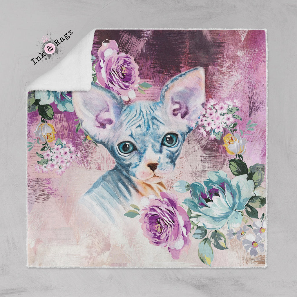 Precious Baby Sphynx Kitten and Flower Faux Sherpa Blankets
