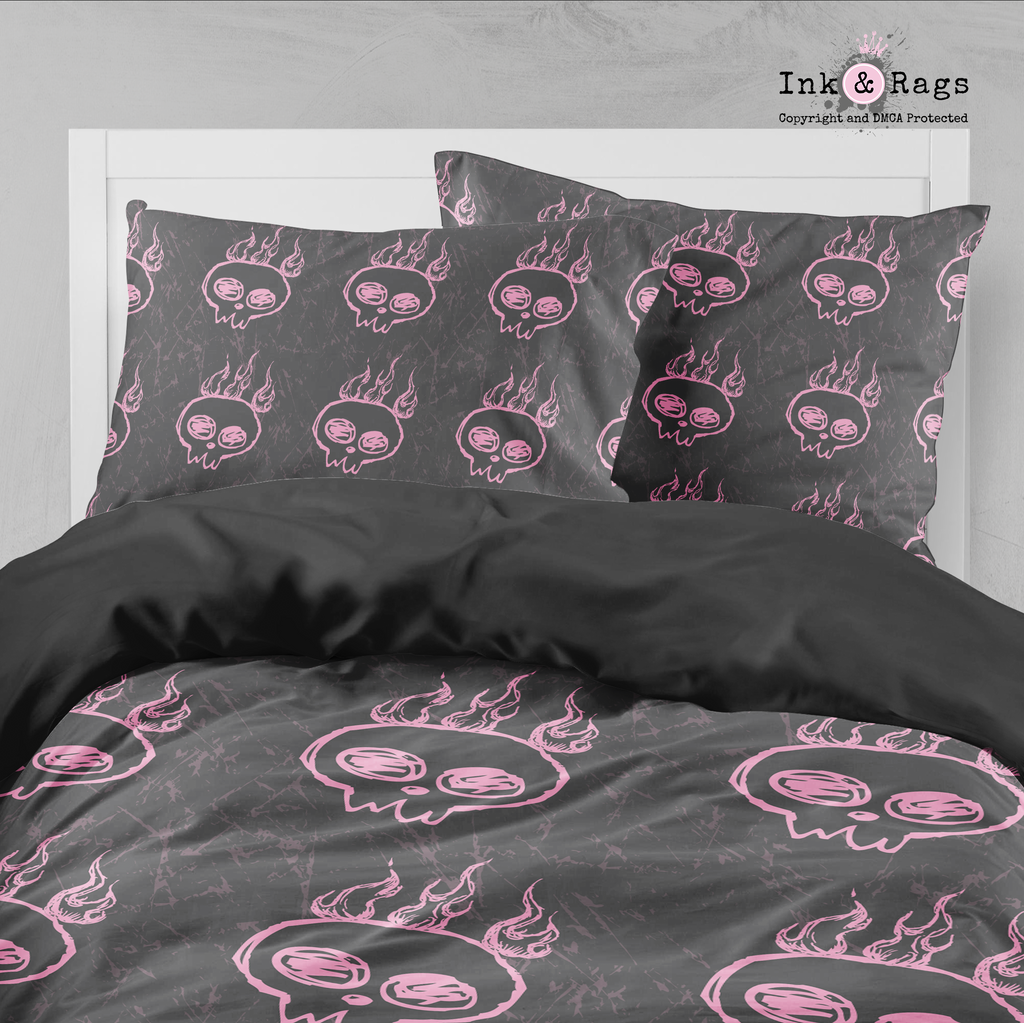 Flaming Pink Hand Drawn Skull Bedding Collection