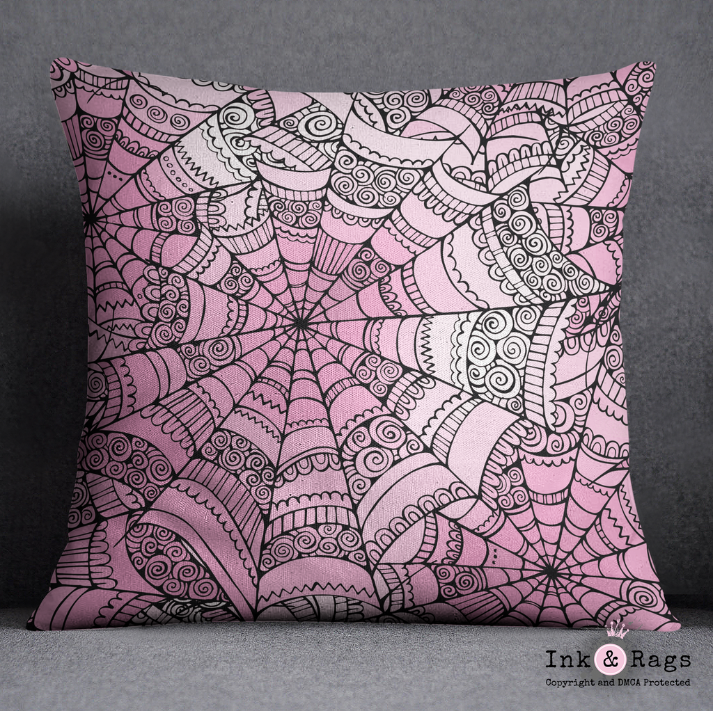 Bubble Gum Goth Spider Web Throw Pillow
