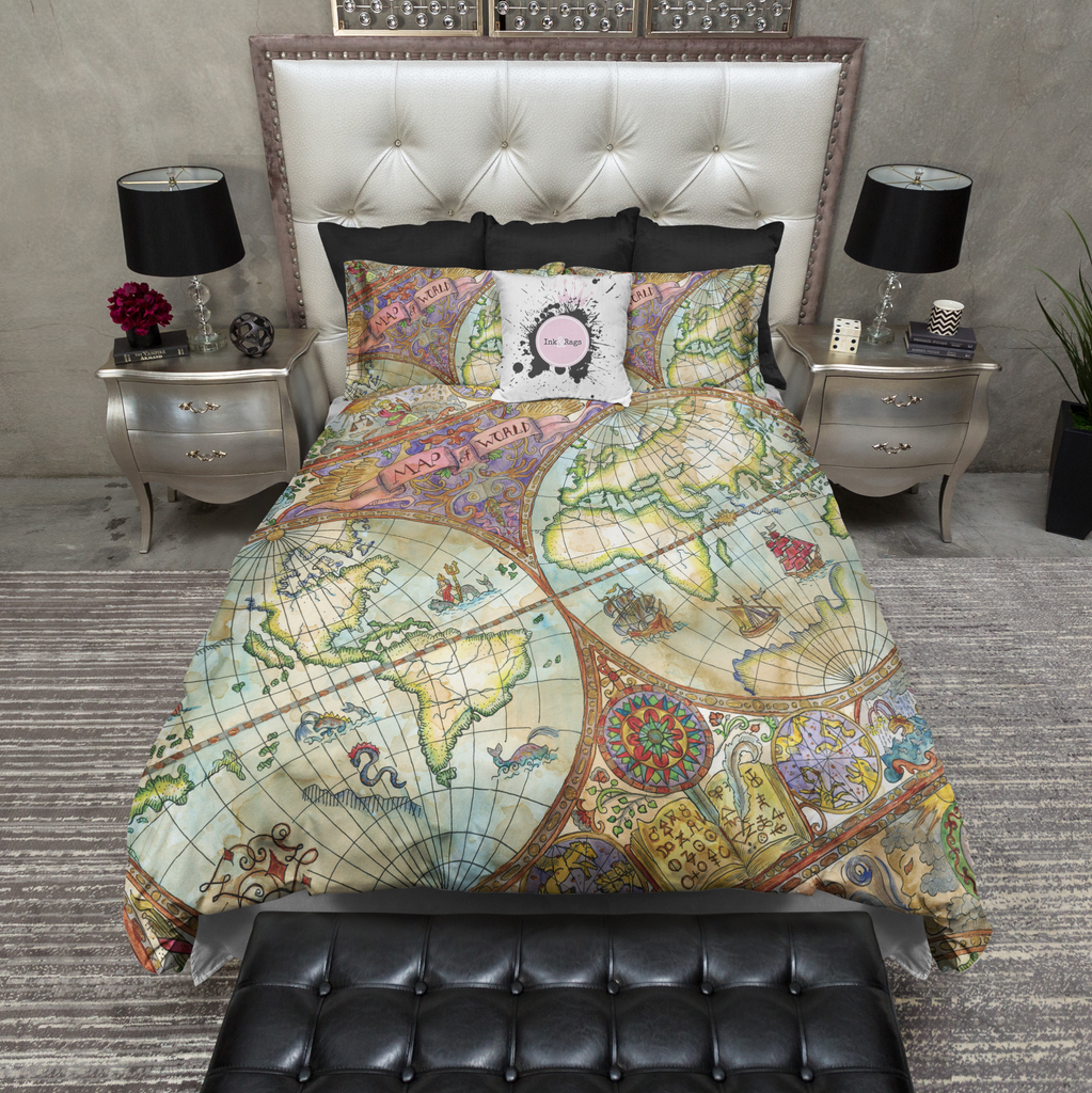 Vintage Watercolor Map Bedding