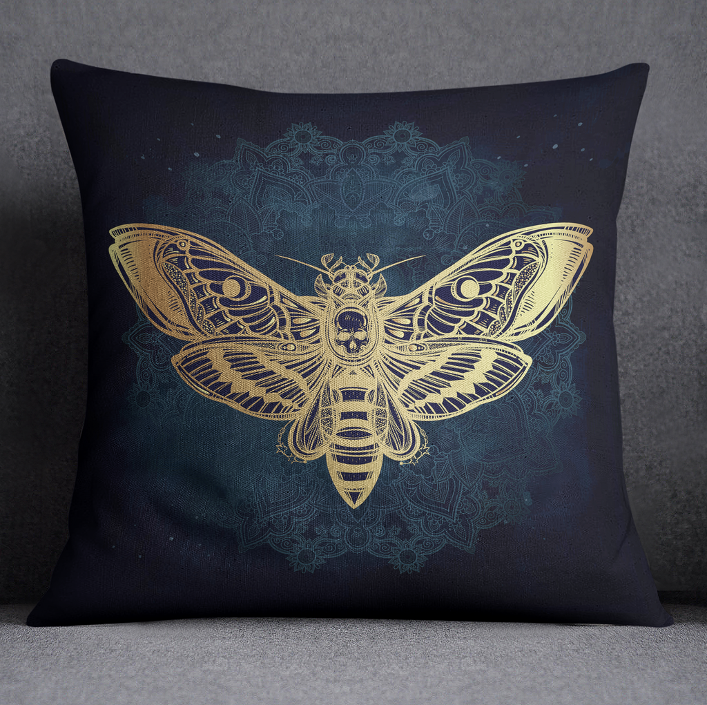 Boho Midnight Mandala Moth Decorative Throw and Pillow Cover Set