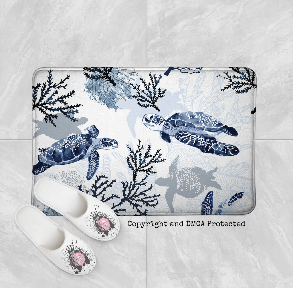 Blue Grey Sea Turtle Coral Beach Theme Shower Curtains and Optional Bath Mats