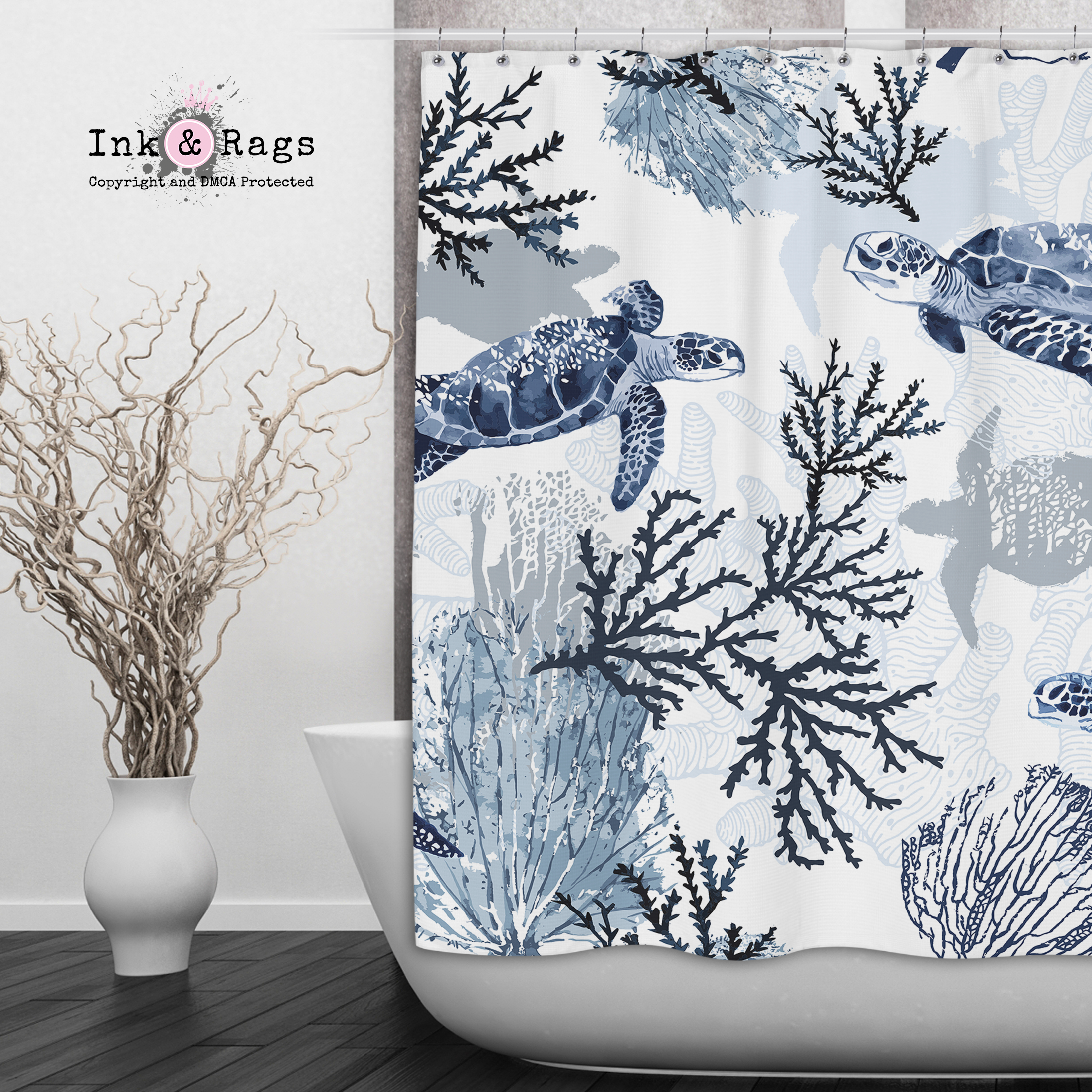 Blue Grey Sea Turtle Coral Beach Theme Shower Curtains And Optional Ba Ink And Rags
