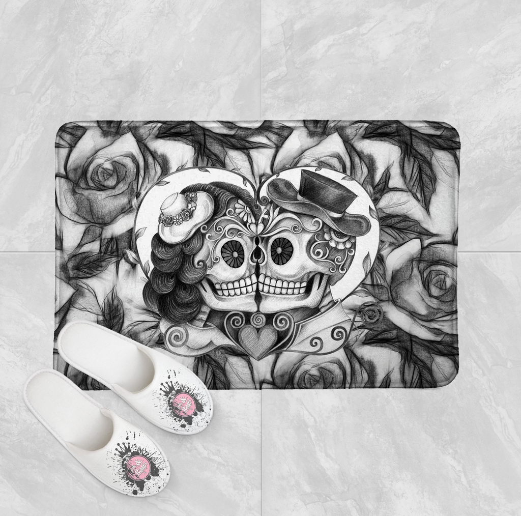 Pencil Sketch Rose Kissing Couple Sugar Skull Shower Curtains and Optional Bath Mats