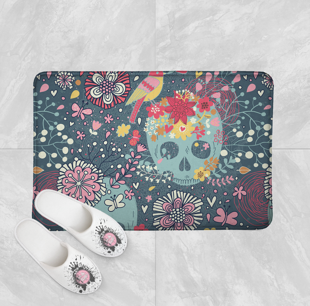 Sugar Skull with Woodland Flowers Shower Curtains and Optional Bath Mats