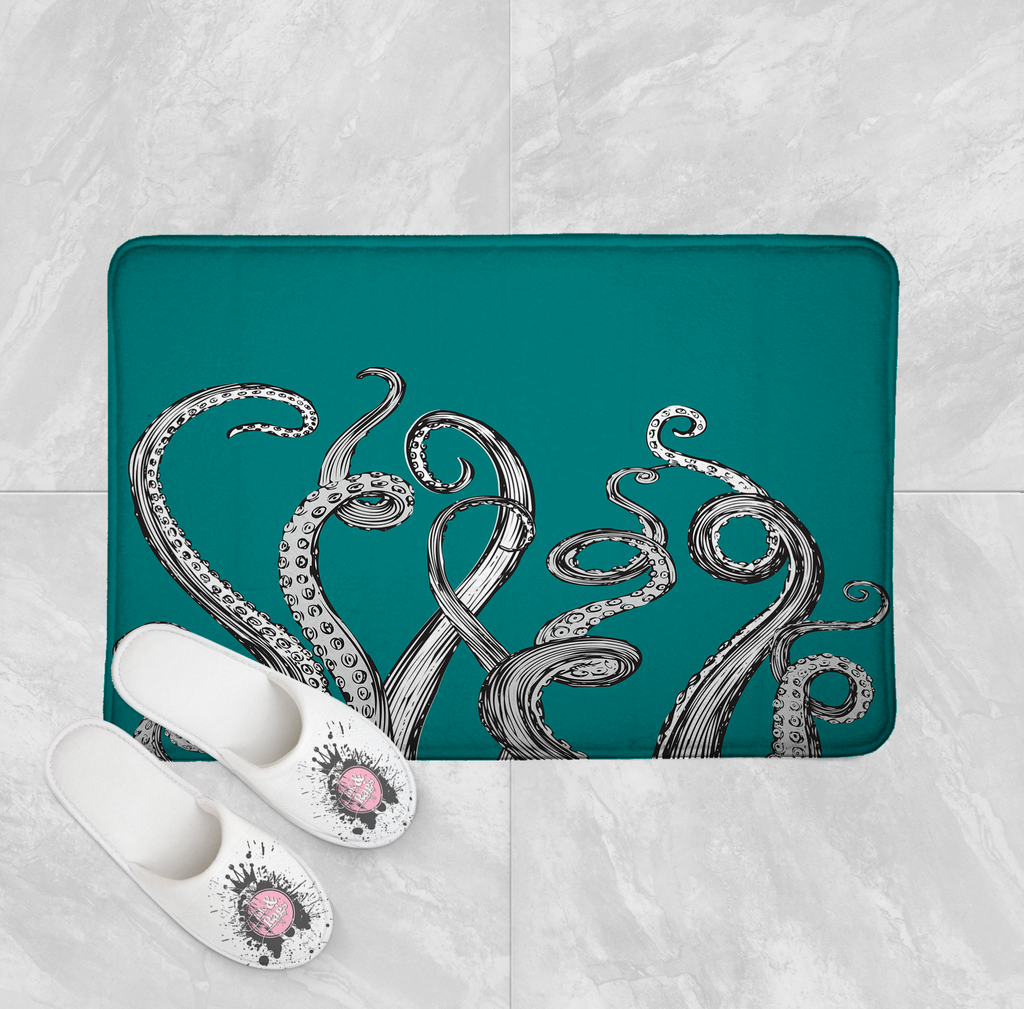 Teal Octopus Tentacle Shower Curtains and Optional Bath Mats