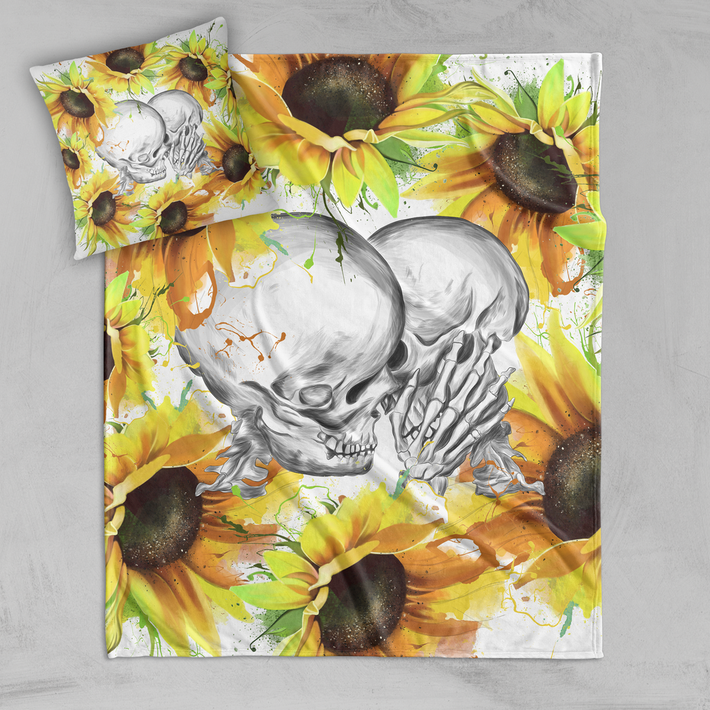 Sunflower Kiss Skull Decorative Throw and Pillow Cover Set