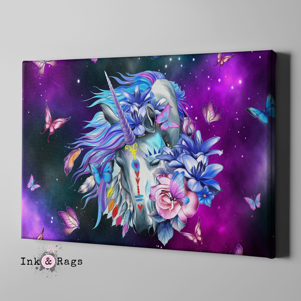 Unicorn Butterfly Galaxy Gallery Wrapped Canvas