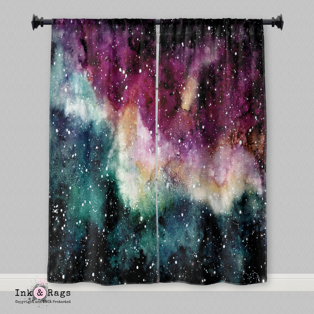 Maroon and Green Watercolor Galaxy Curtains