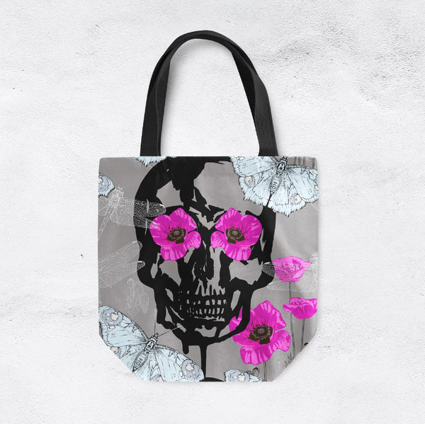 Hot Pink Poppy Butterfly Skull Casual Tote