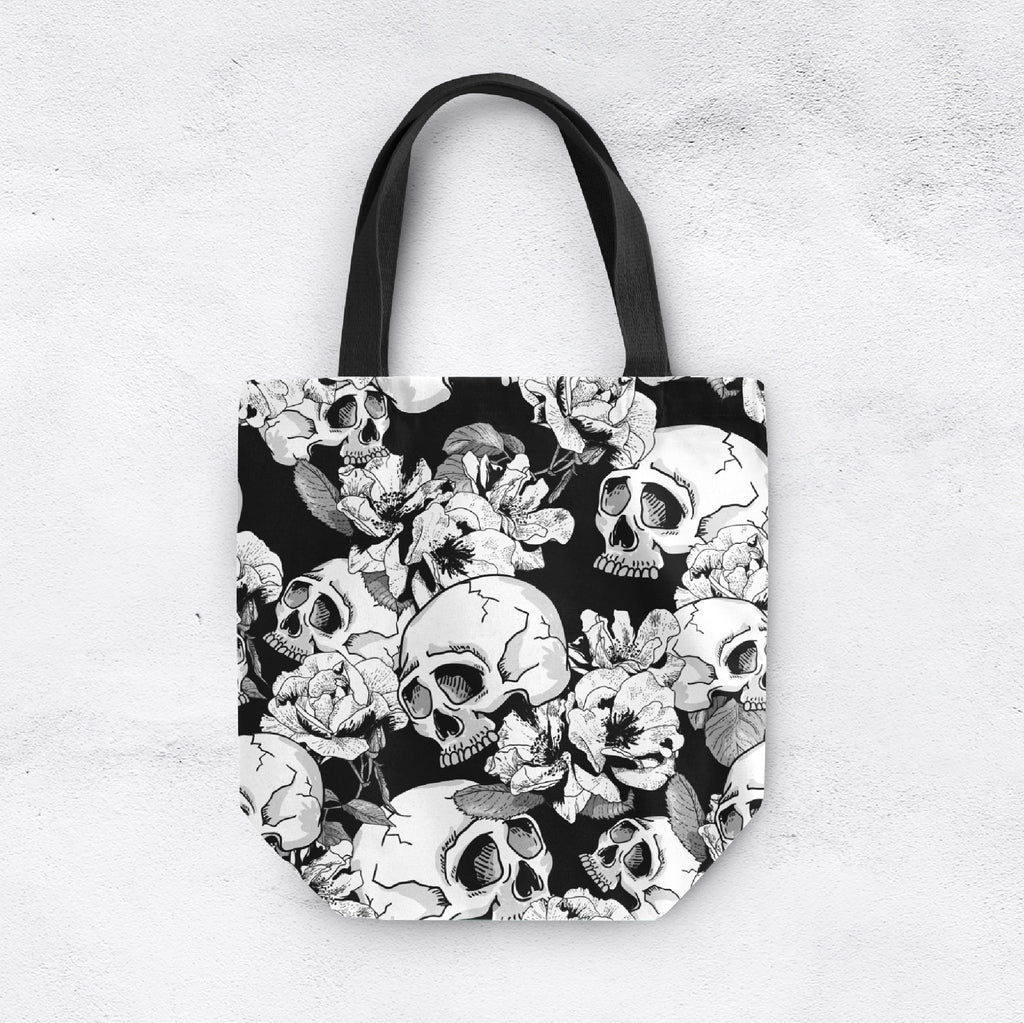 Black and White Contrast Skull Casual Tote