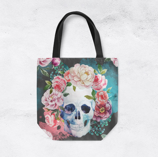 Green Watercolor Floral Skull Casual Tote