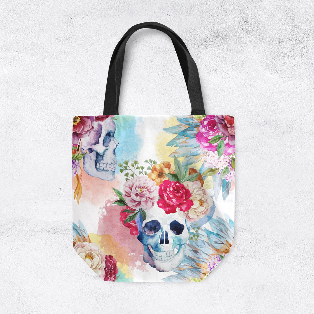 Bright Watercolor Flower and Skull Casual Tote