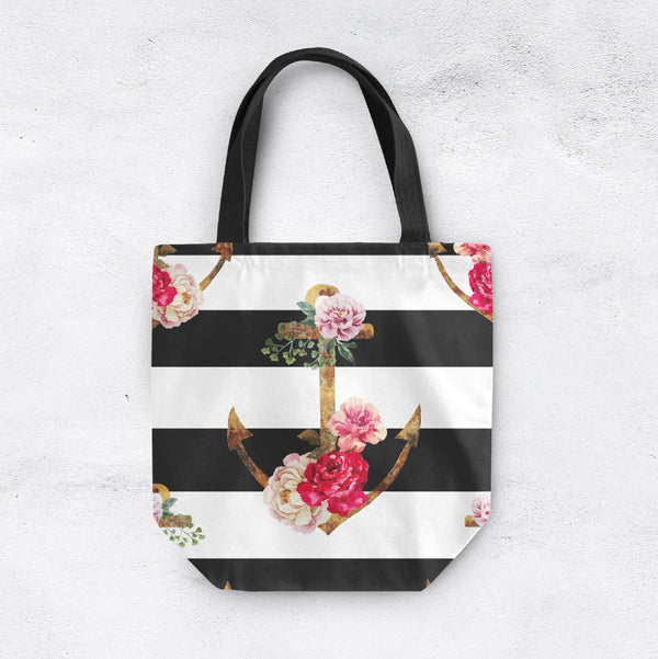 Floral Anchor Stripe Casual Tote