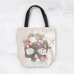 Bluebird and Flower with Brown Skull Casual Tote