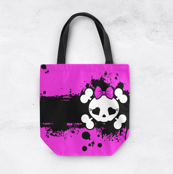 Hot Pink Grunge Candy Skull Casual Tote