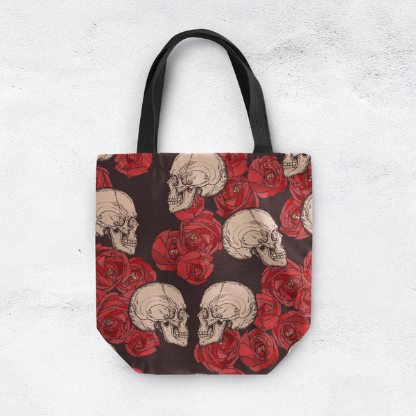 Red Rose and Skull Casual Tote