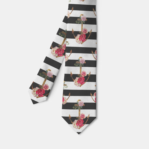 Watercolor Anchor Stripe Necktie