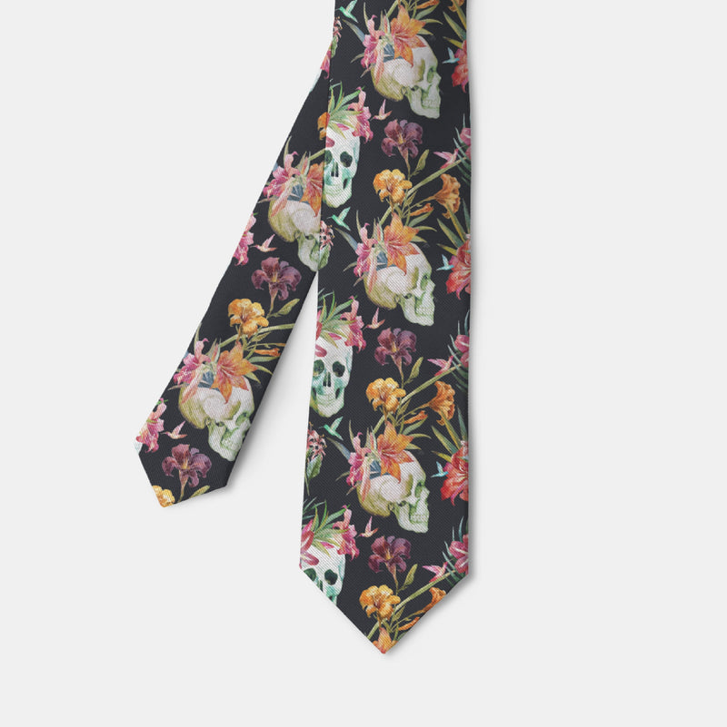 Tropical Watercolor Skull Necktie