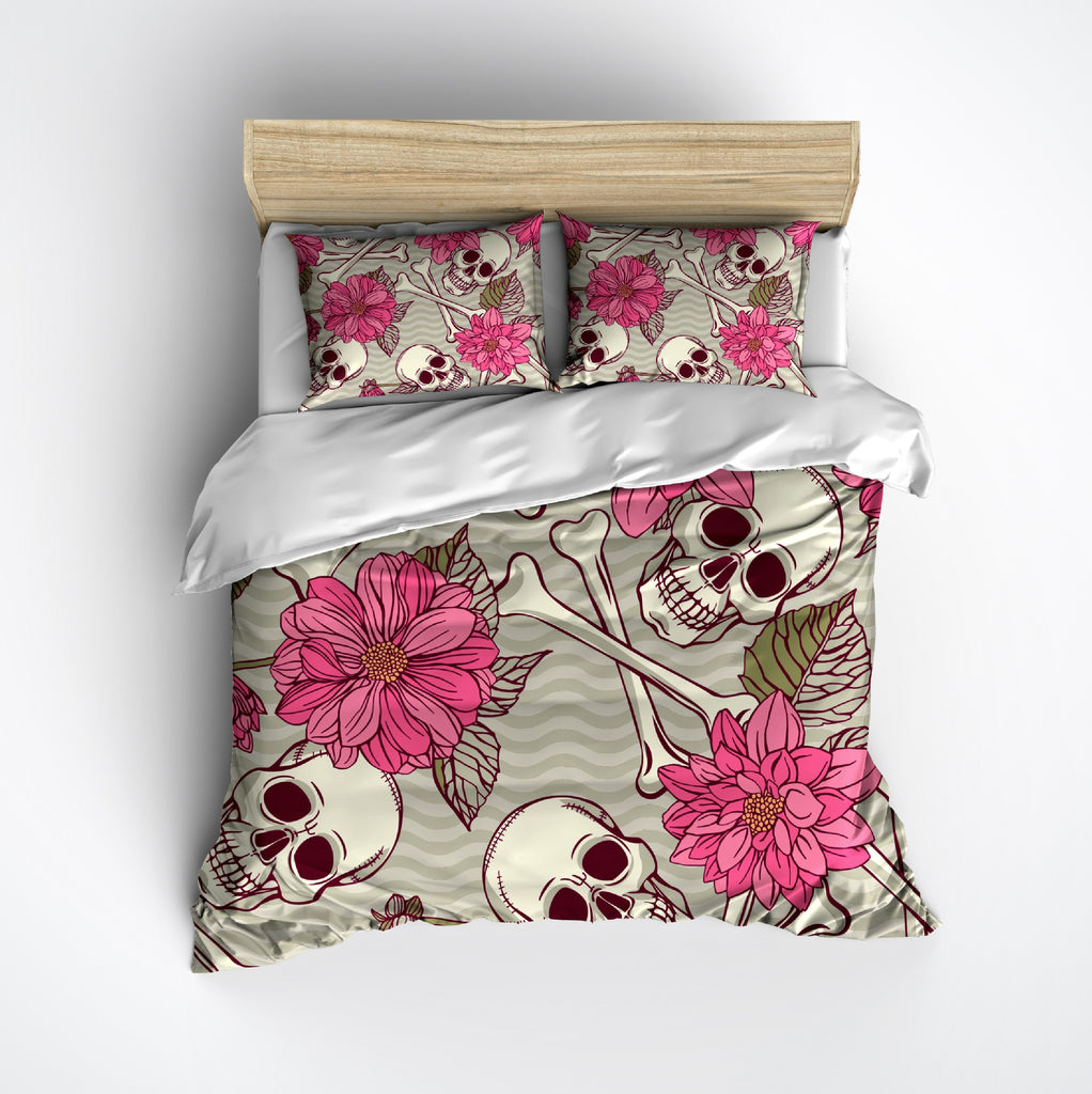 Pink Flower and Waves Skull and Crossbone Duvet Bedding Sets