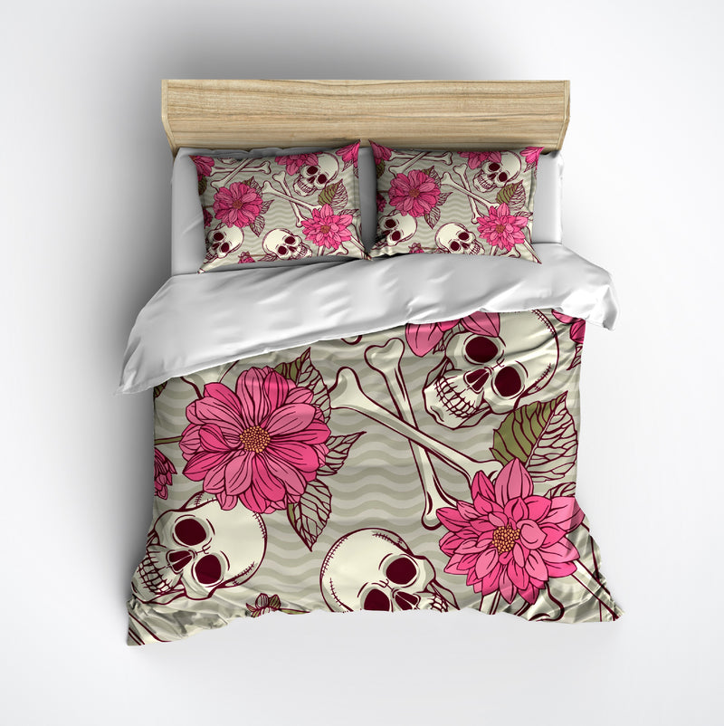 Pink Flower and Waves Skull and Crossbone Bedding