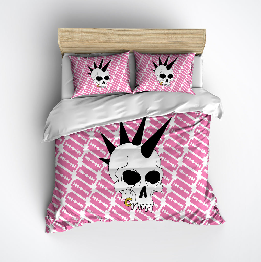 Pink Punk Rock Blades Skull Bedding