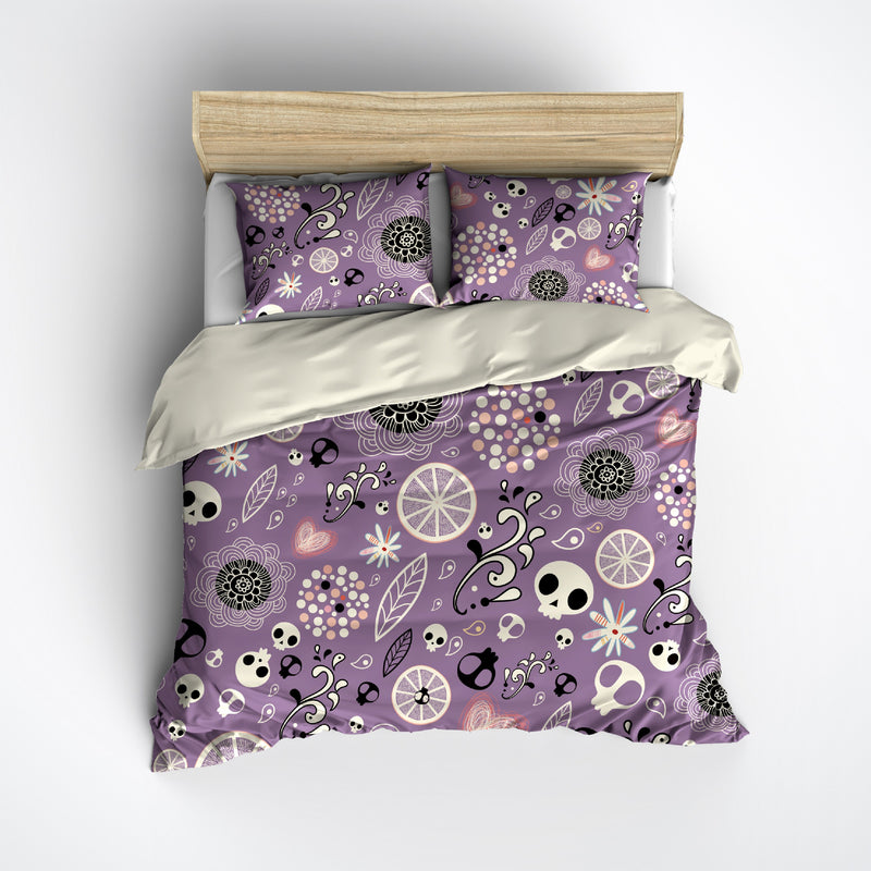 Playful Purple Skull Bedding CREAM