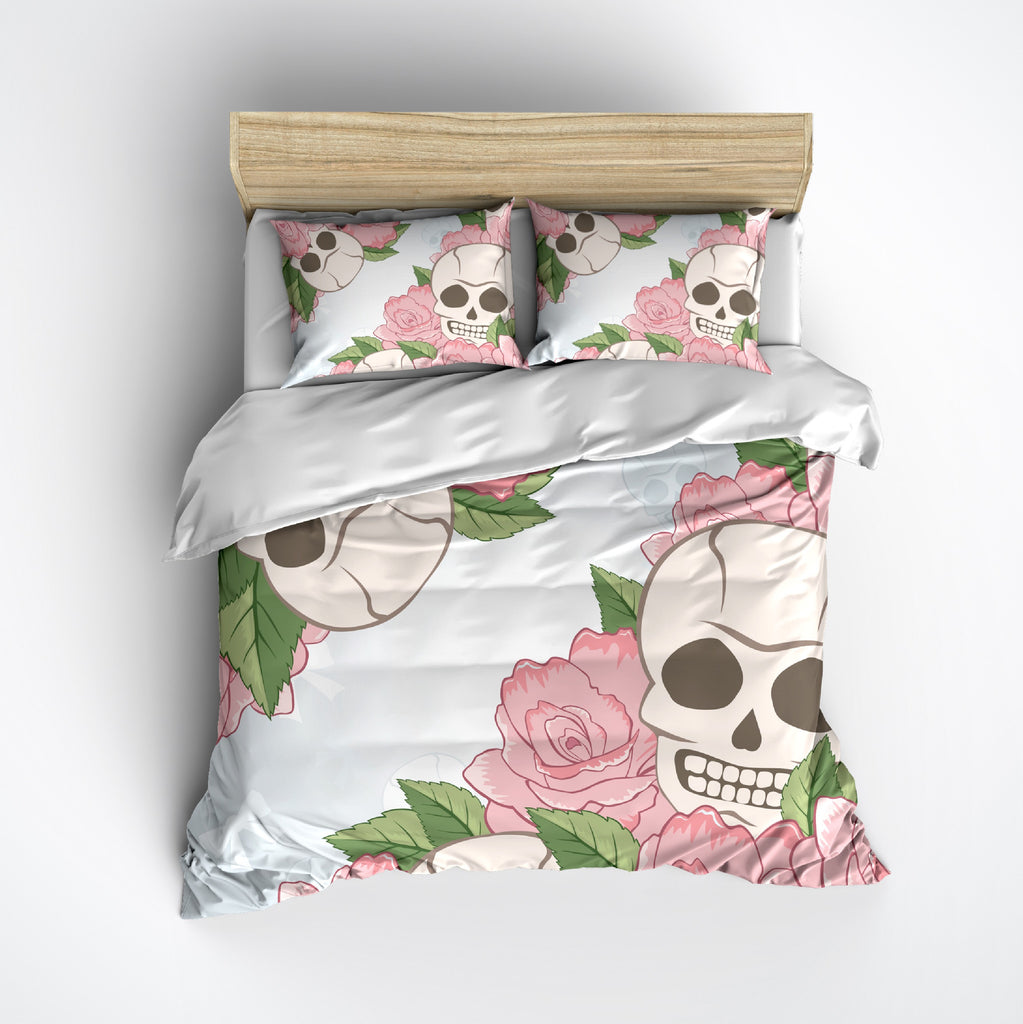 Pastel Blue and Pink Rose Skull Bedding