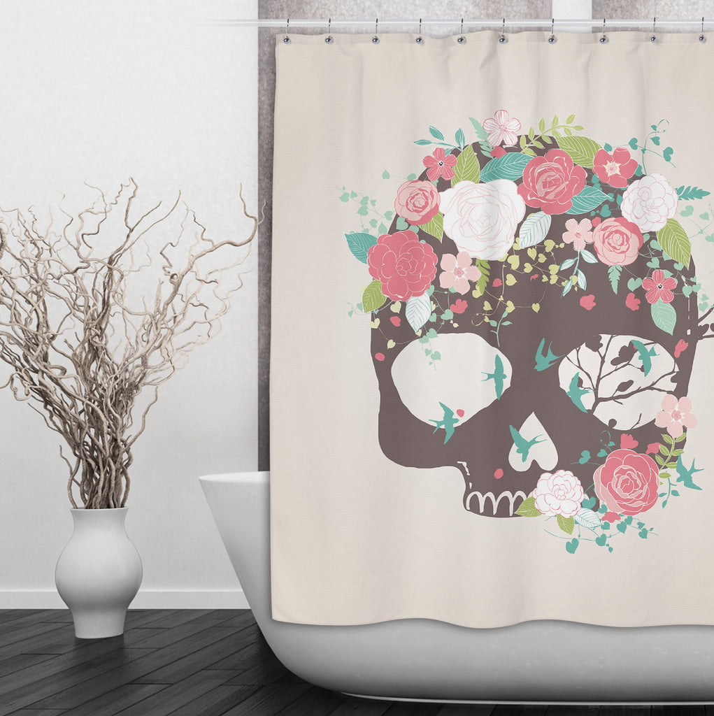 Flower and Blue Bird Skull Shower Curtains and Optional Bath Mats