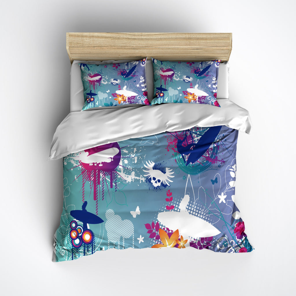 Surfer Skull Bedding