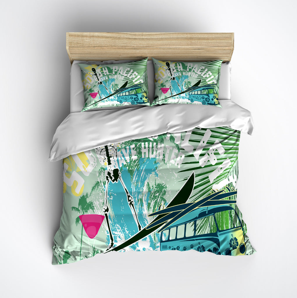 South Pacific Wave Hunter Surf Skeleton Duvet Bedding Sets