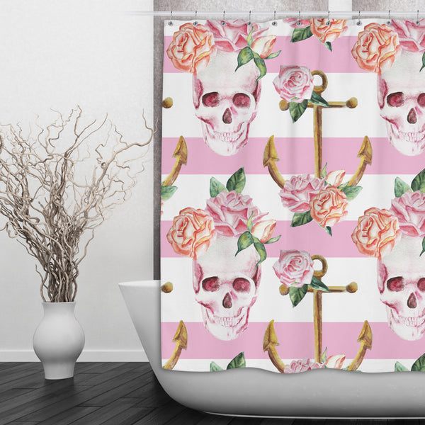 Pink Skull And Anchor Shower Curtain Ink And Rags