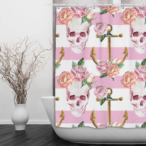 Pink Skull and Anchor Shower Curtain