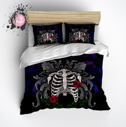 Ribcage Torso Skeleton Bedding with Floral Design Bedding