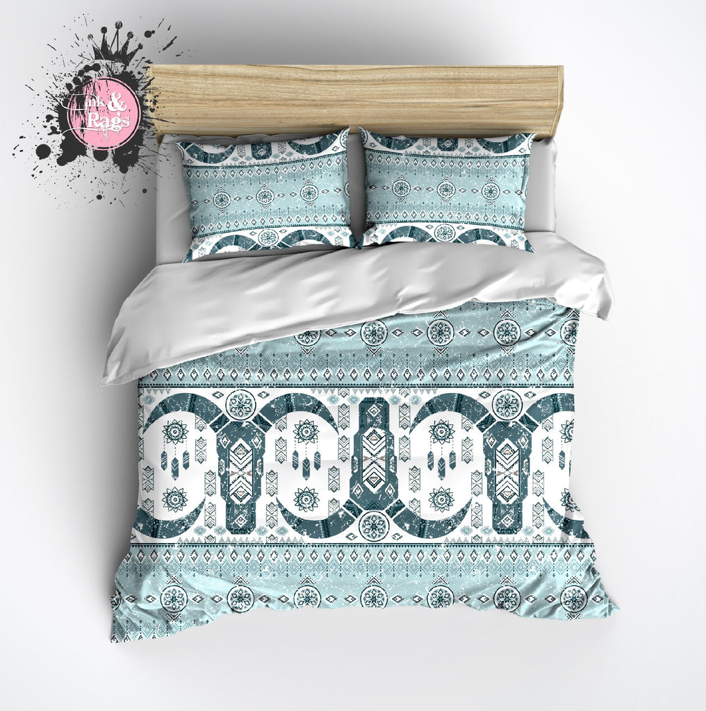 Light Blue and Teal Cattle Skull Fair Isle Pattern Bedding Collection