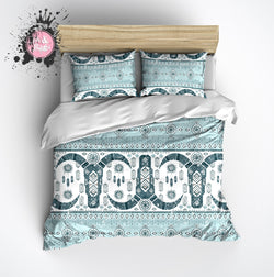 Light Blue and Teal Cattle Skull Fair Isle Pattern Duvet Bedding Sets