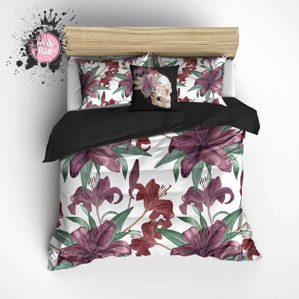 Purple Iris Floral Skull Bedding