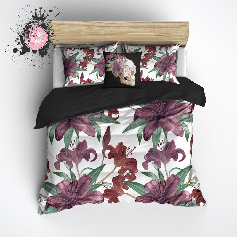 Purple Iris Floral Skull Duvet Bedding Sets