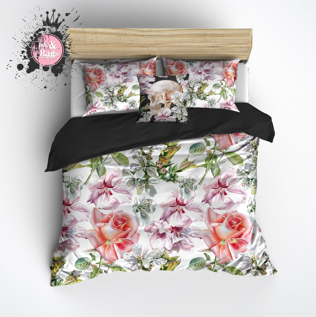 Rose and Floral Skull Duvet Bedding Sets