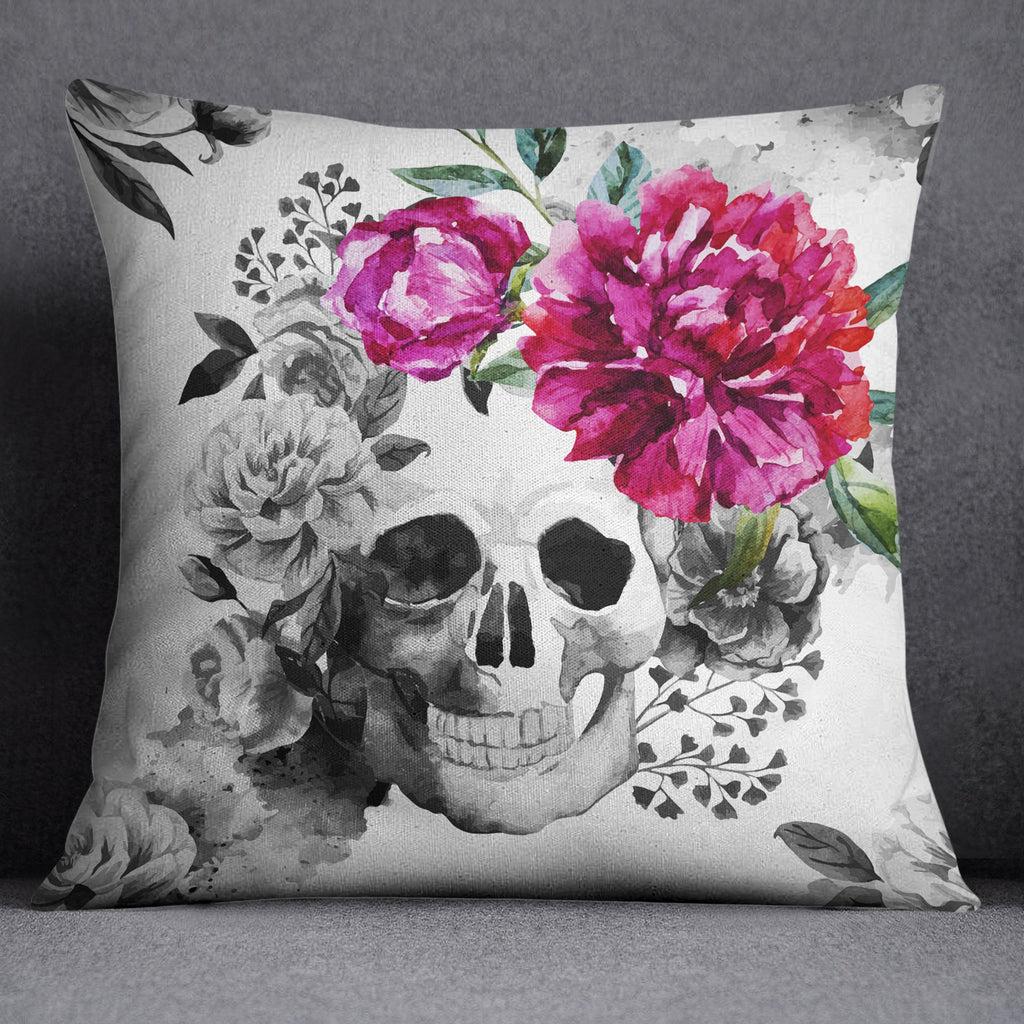 Black and White Watercolor with Pink Flower Throw Pillow