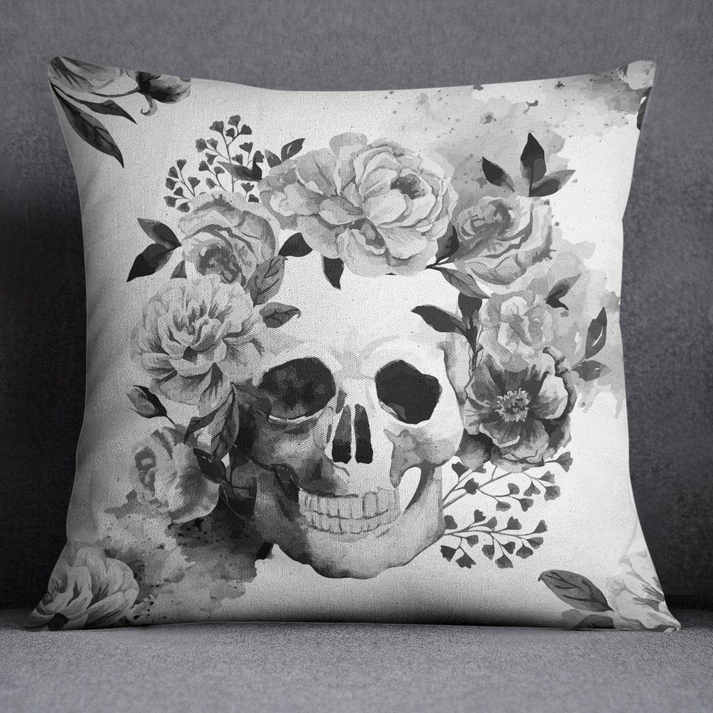 Black and White Watercolor Skull Decorative Throw Pillow Cover