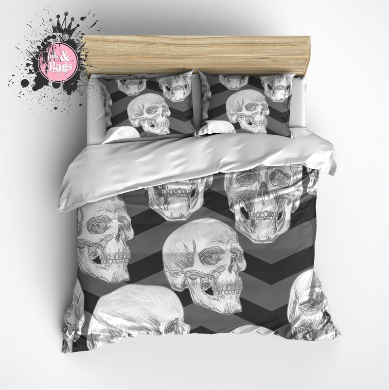 Grey Chevron Skull Duvet Bedding Sets