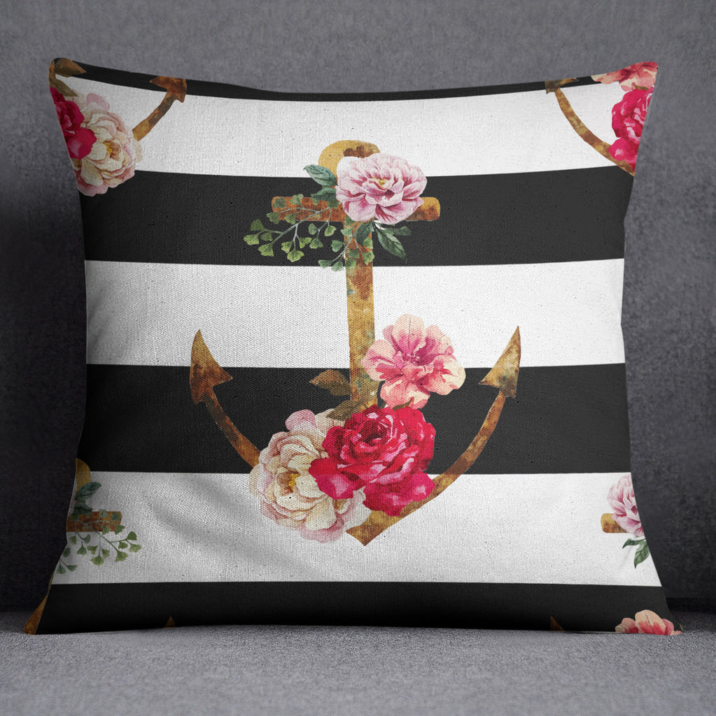 Watercolor Anchor Stripe Throw Pillow